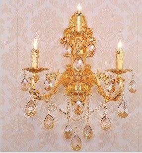 設計師美術精品館爆款3頭歐式合金水晶壁燈背景墻壁燈床頭燈過道壁燈會所酒店壁燈