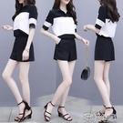 套裝時尚休閒雪紡套裝女夏新款黑白短袖上衣 洋氣短褲網紅兩件套 快速出貨