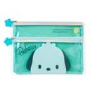【震撼精品百貨】Pochacco 帕帢狗~日本三麗鷗SANRIO~透明雙拉筆袋*58337