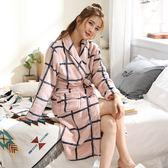 睡袍女士秋冬季珊瑚絨睡衣保暖加厚加長款情侶浴衣性感法蘭絨浴袍