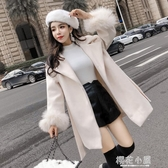 呢子大衣女秋裝款新品韓版翻領繫帶收腰顯瘦中長款毛呢外套潮『櫻花小屋』
