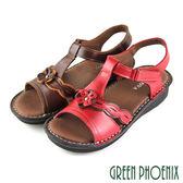 U25-29188 女款全真皮涼鞋  T字鏤空立體雙彩小花沾黏式全真皮涼鞋【GREEN PHOENIX】