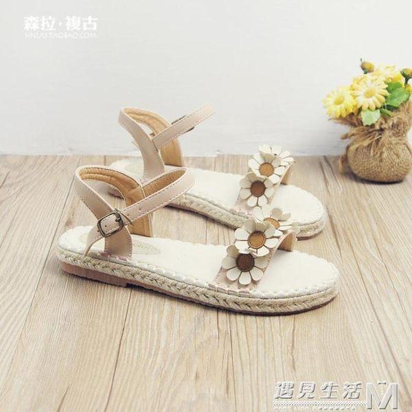 夏季新款日系森女系平底涼鞋女復古一字帶扣波西米亞花朵休沙灘鞋 遇見生活