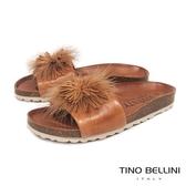 Tino Bellini 西班牙進口全真皮花飾舒足涼拖鞋 _ 棕 B83215 歐洲進口款