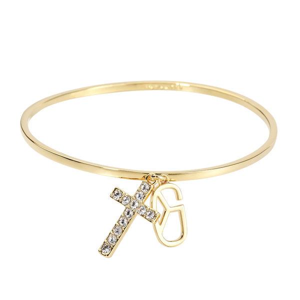手鍊 手環 個性 時尚 百搭 經典 禮物 十字架 Bangle 銅鍍14K金 施華洛世奇水鑽