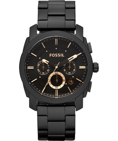 FOSSIL 星際時空三環運動腕錶/手錶-金時標/IP黑 FS4682