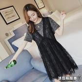 孕婦夏裝連身裙夏季韓版短袖潮媽蕾絲上衣中長款孕婦裙子