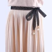 腰封/腰帶 蕾絲裝飾鏤空花邊珍珠黑色系帶配裙子細窄長條絲帶飄帶