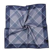DAKS經典格紋100%純棉帕巾(灰藍色)989108-132