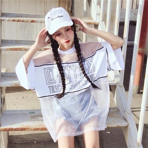 [超豐國際]夏季女裝原宿風寬松七分袖中長款T恤透視網紗罩衫學1入