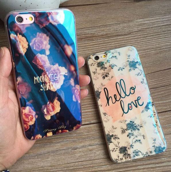 【SZ15】iphone6 plus手機殼 鐳射牡丹花藍光軟殼 iphone6s Plus 5S/SE 手機殼 iphone6S 保護套 保護殼