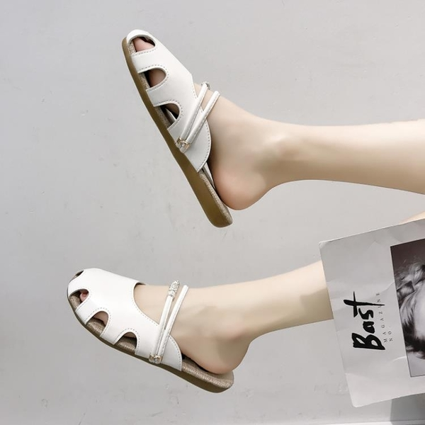 包頭拖鞋女2021夏季新款韓版時尚平底洞洞鞋外穿休閒涼拖鞋子女潮 蘇菲小店