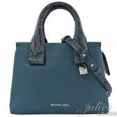 茱麗葉精品【全新現貨】MICHAEL KORS Rollins 蛇紋拼接邊手提兩用包.磁磚藍 小