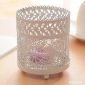 歐式白色玻璃鐵藝擺件小夜燈蠟燭臺    LY6677『愛尚生活館』