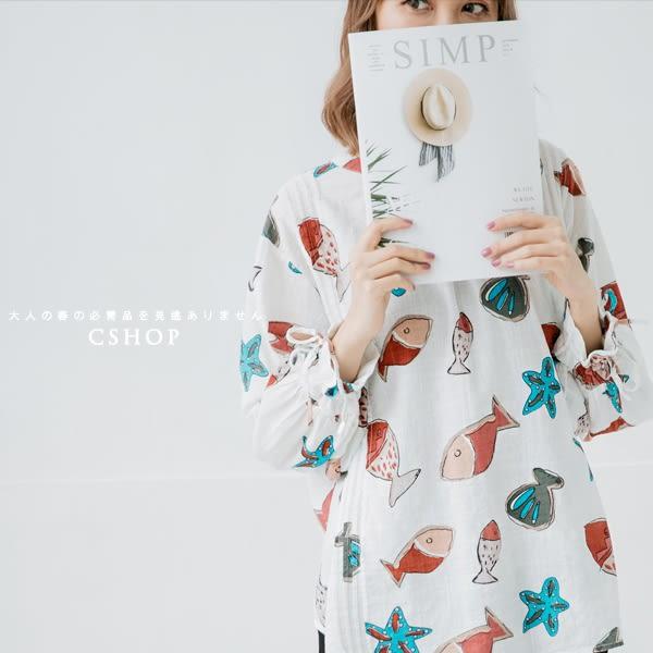 罩衫  海之味貝殼海星雙面穿棉麻衫  二色-小C館日系