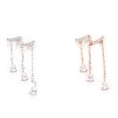 耳環 925純銀鑲鑽-長款流蘇情人節生日禮物女耳飾2色73du20【時尚巴黎】