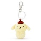 小禮堂 布丁狗 造型絨毛伸縮鑰匙圈 易拉扣鑰匙圈 玩偶鑰匙圈 (黃 全身) 4550337-22699
