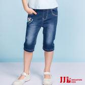 JJLKIDS 女童 美人魚公主泡泡刷色牛仔七分褲(牛仔藍)