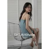 1313灰藍修身疊穿細肩帶抹胸A字短裙 女夏顯瘦休閒吊帶洋裝 「錢夫人小鋪」