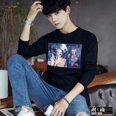 『潮段班』【HJA3TX79】韓版簡約圖案舒適長袖T恤