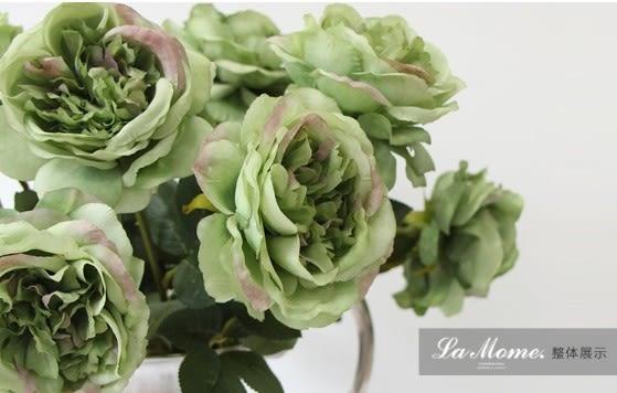[協貿國際]單只油畫芙蓉茶玫(綠色)/仿真花絹花裝飾花/樣板房會所專供