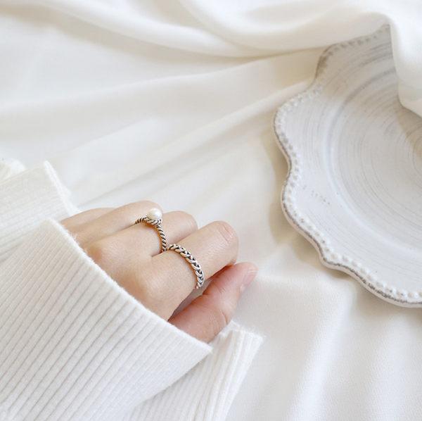 925純銀仿舊編織麻花淡水珍珠開口戒  韓版