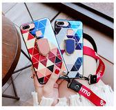IPhone 6 6S Plus 全包手機套 藍光手機殼 菱格保護殼 指環支架 帶掛脖繩 防摔保護套 超薄背殼 情侶殼