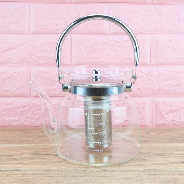 Trudeau耐熱玻璃茶壺泡茶壺2.2L開水壺可直火加熱-大廚師百貨