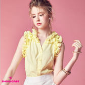 【SHOWCASE】氣質壓褶荷葉襯衫V領無袖雪紡襯衫(黃)