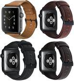 蘋果apple watch油蠟表帶iwatch1/2/3代皮質黑色金屬扣手錶帶  遇見生活