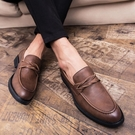 懶人鞋 鞋男皮鞋男韓版商務正裝男鞋新款夏季韓版休閒鞋子男潮鞋 【快速出貨】