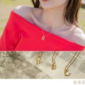 《ZC1356》韓系金色份量質感字母項鍊 OrangeBear