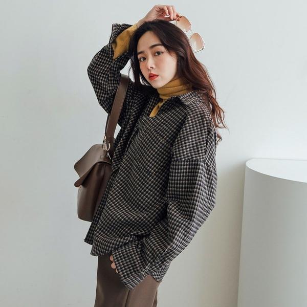 現貨-MIUSTAR 單口袋三線細格紋毛呢襯衫(共2色)【NH3337】