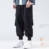 哈倫褲男寬鬆百搭束腳褲多口袋機能休閒長褲【橘社小鎮】