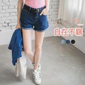 OB嚴選《BA2139-》附皮帶立體剪裁牛仔短褲.3色--適 S~XL