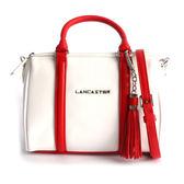 【LANCASTER】小牛皮手提/斜背波士頓包(MINI)(紅白拼色) 573-43 BLANC/ROUGE