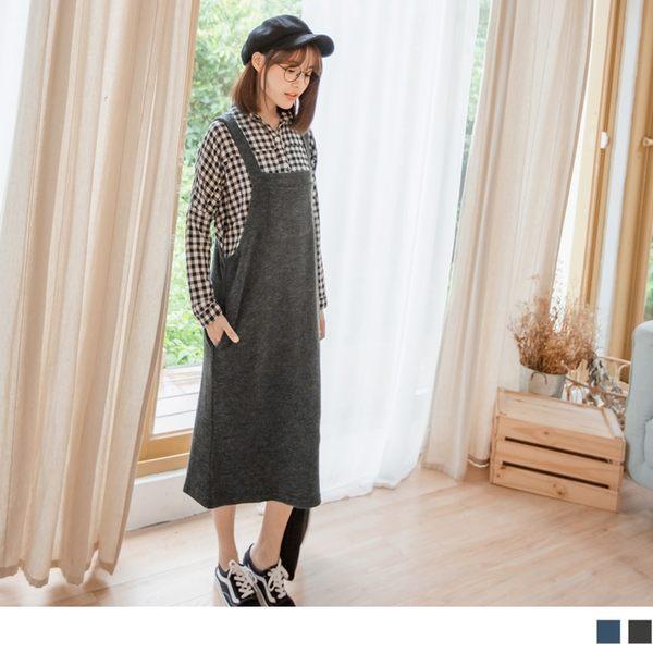《DA6073-》溫暖毛感豎壓紋口袋吊帶裙 OB嚴選
