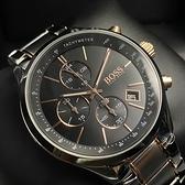 BOSS伯斯男錶44mm黑色錶面銀色, 玫瑰金色錶帶