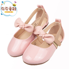 《布布童鞋》甜美風格蝴蝶結粉色亮皮兒童娃娃鞋公主鞋(15~19公分) [ Q0B037G ]