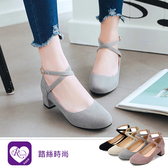 韓系甜美森林系磨砂交叉扣粗跟瑪莉珍包鞋/4色/35-43碼(RX1070-1188) iRurus 路絲時尚