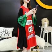 夏季韓版200斤肥大碼寬鬆洋裝女裝純棉遮肚長裙胖妹妹短袖T恤裙
