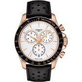 TISSOT 天梭 V8系列三眼計時手錶-白x黑色錶帶/42.5mm T1064173603100