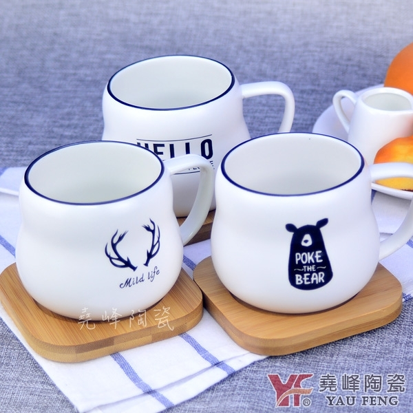 馬克杯專家 簡約北歐風格陶瓷牛奶杯(附竹杯墊) 單入 早餐 親子 濃湯   交換禮物適用   現貨