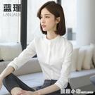 立領襯衫女設計感小眾春新款白色襯衣圓領工...