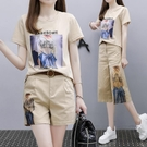 兩件式褲裝 短褲套裝女時尚洋氣氣質減齡小個子穿搭顯高短袖兩件套潮-Ballet朵朵