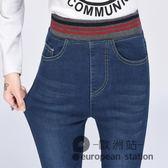 牛仔長褲/鬆緊腰大碼彈力緊身收腹小腳學生高腰女「歐洲站」
