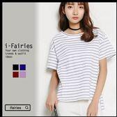 竹節棉條紋短袖T恤 上衣★ifairies【41323】