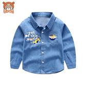 雙12購物節   童裝春秋季男童牛仔襯衫長袖2018新款純棉中小童寶寶襯衣兒童外套   mandyc衣間