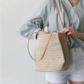 帆布包包包女新款手提草編沙灘包大容量ins超火簡約編織單肩水桶包【全館免運好康八折】
