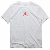 NIKE 短T JORDAN JUMPMAN 白 紅LOGO 速乾 運動 T恤 短袖 男 (布魯克林) CW5191-100